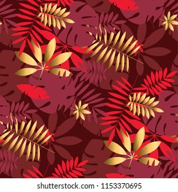 Gold and red geometric tropical seamless pattern for background, wrapping paper, fabric, surface design. Luxury. Bright rich repeat motif inspired by Chinese fabric.
