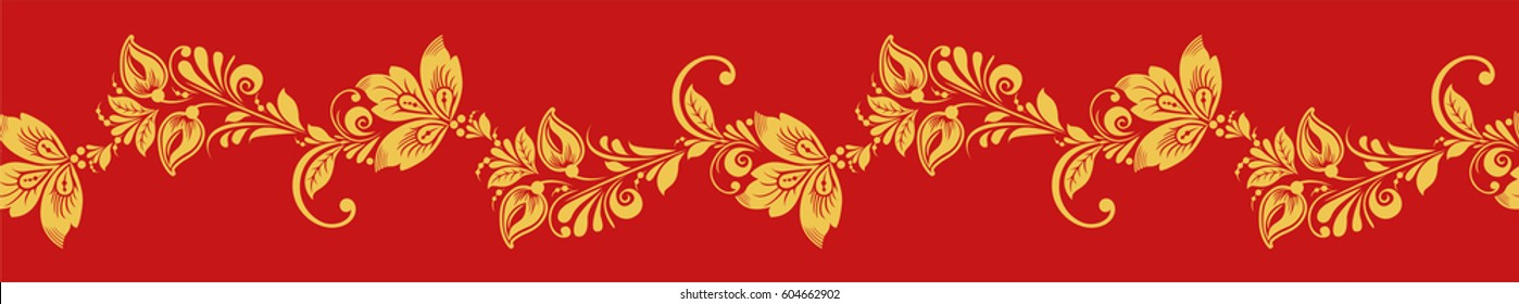 Gold and red hohloma seamless line vector. Russian traditional folk. Classic khokhloma decoration ornament.