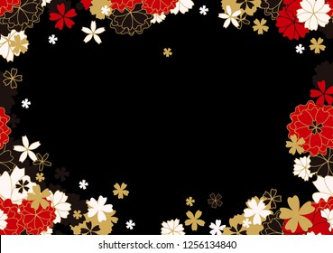 Gold, Red Horizontal Sakura Frame or Vector Banner. Paper Cutting or Laser Cut Black Background with Sakura Flowers and Stars. Vector Japanese or Chinese illustration