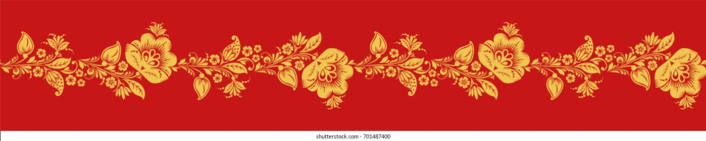 Gold and red khokhloma seamless pattern vector. Russian traditional folk. Classic hohloma design