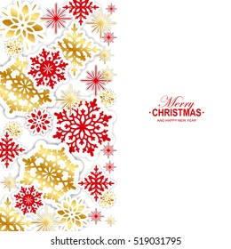 Gold and red paper snowflakes Christmas background. Vector illustration.