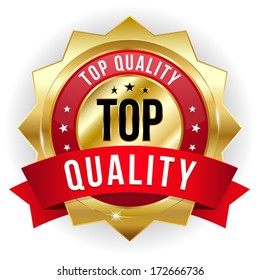 Gold red top quality badge with ribbon