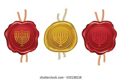 gold and red wax seal with hanukkah menorah