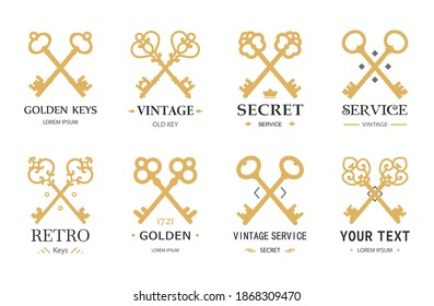 Gold retro keys. Different crossed keys silhouettes with typography. Vintage vector emblems.