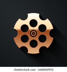 Gold Revolver cylinder icon isolated on black background. Long shadow style. Vector Illustration