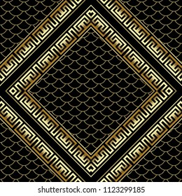 Gold rhombus 3d greek key meander frames seamless pattern. Grid lattice background. Lace, snake skin textured ornament. Decorative frames with place for text, image, your design.  Rich surface texture