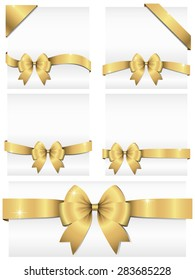 Gold Ribbon Banners - Set of 5 shiny ribbon banners wrapping around white copy space, and 2 corner banners.  Ribbons can be adjusted easily to fit any format.  Colors are global swatches.