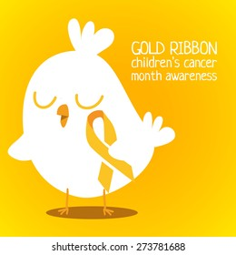 Gold ribbon. Childhood cancer awareness symbol in Pencil style. Vector. Little chicken with golden ribbon