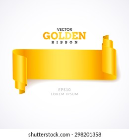 Gold ribbon. Creative gold ribbon on light background. Realistic Curling ribbon.
