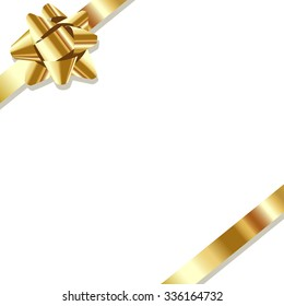 Gold ribbon on the white background