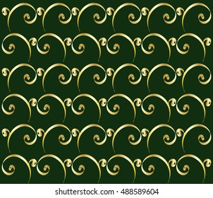 Gold ribbon pattern on dark green