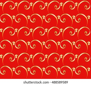 Gold ribbon pattern on red