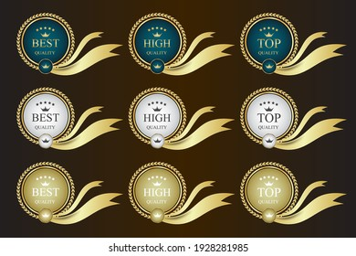 Gold ribbon promotion label template,promotion sale sticker,vector illustration