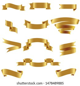 Gold Ribbon Set InIsolated For Celebration And Winner Award Banner White Background, Vector Illustration can use for anniversary, birthday, party, event, holiday, Ied mubarak And religious day