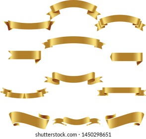Gold Ribbon Set InIsolated White Background, Vector Illustration