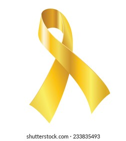 Gold ribbon - symbol of childhood cancer awareness.