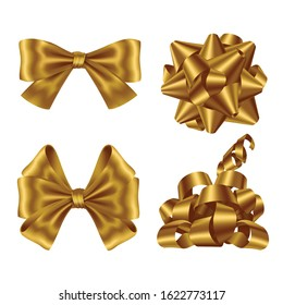 Gold ribbons and bows top and side view set. Collection of shiny festive elements for wrapping present boxes for Christmas or birthday isolated on white background Realistic 3d vector illustration