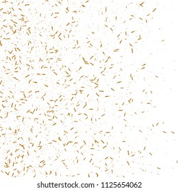 Gold ribbons confetti. Flying shiny glitter. Bokeh texture. Abstract golden defocused anniversary invitation template. Wedding golden tinsels. Falling abstract glitter. Explosion birthday card.