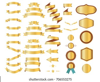Gold ribbons, waving flags or golden banners templates of star, heraldic laurel wreath or arrow and badge label frame. Isolated 3D gradient color design elements. Vector white background illustration