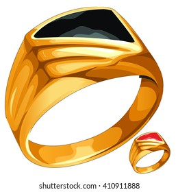 Gold ring with black and red insert. Vector illustration.