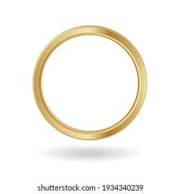 Gold ring frame. Yellow ornament metal banner with luxury round shape for image and avatars in social media vector.