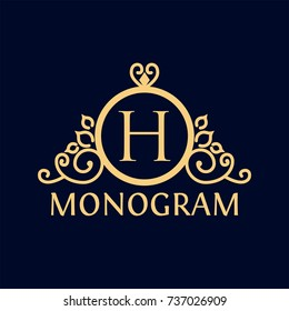 gold ring monogram logo template for Restaurant, Royalty, Boutique, Cafe, Hotel, Heraldic, Jewelry, Fashion and other
