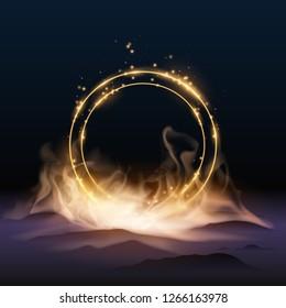 gold rings in smoke