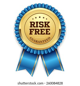 Gold risk free badge with blue ribbon on white background