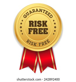Gold risk free badge with red ribbon on white background