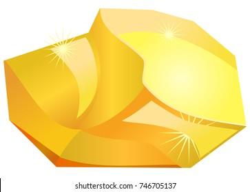 Gold rock or boulder vector icon