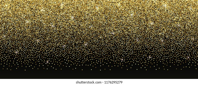 Gold romantic banner with golden glitter. Luxury abstract background for web design, templates, brochures, banners, greeting cards, invitation, fliers with text place.