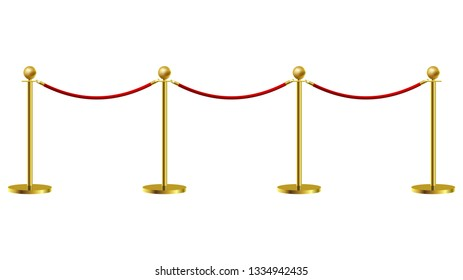 Gold Rope Barrier Constructor Concept Premiere Exposition and Protection Expensive Art. Vector illustration