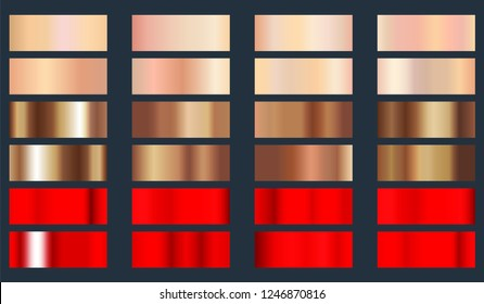 Gold rose, bronze and red metallic foil texture set. Collection of color gradients backgrounds. Vector illustration.