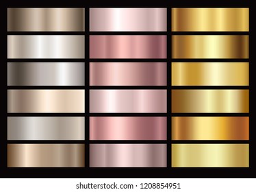 Gold rose, bronze, silver and gold foil texture gradation background set. Vector golden elegant, shiny and metalic gradient collection.