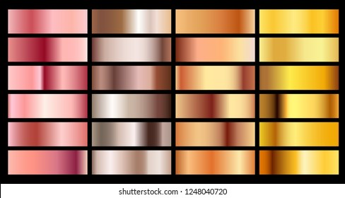 Gold rose, bronze, silver and gold texture gradient background. Metal chrome palette copper collection.