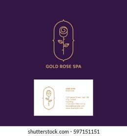 Gold Rose logo and business card. Spa or cosmetic emblem. Rose with leaves on a purple background.