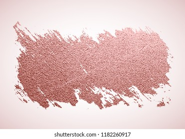 Gold rose paint brush stroke, sparkle background. Pink gold glittering textured art. Hand drawn grunge paint. Vector illustration