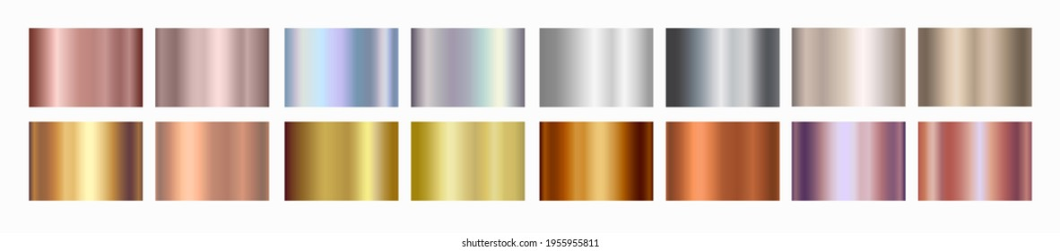 Gold rose, silver, holographic, bronze, copper and golden foil texture gradation background set. Vector shiny hologram and metalic gradient collection for border, frame, ribbon, label design