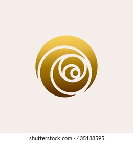 Gold rose symbol. Flower logo design template for flower shop, cosmetic and beauty salon. Floral icon concept on light background. Vector illustration.