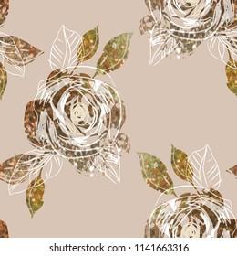 Gold Roses Seamless Pattern. Artistic Background. Vector Illustration EPS 8.