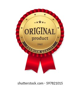 """Gold rosette with title """"Original Product"""" and """"Premium Quality"""". Golden badge with red ribbon. Isolated from the background."""