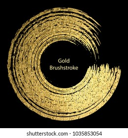 Gold round design templates for poster, brochure, invitation, cover book, catalog,  logo, banners. Vector golden abstract background. Gold brushstroke.