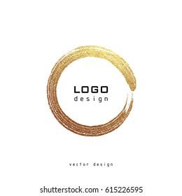 Gold round frame on a white background. Golden Label, logo design element. Vector illustration
