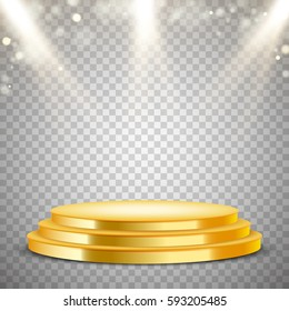 Gold round podium with blur lights effect, abstract background, vector