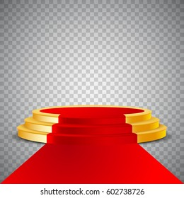 Gold round podium with red carpet, abstract background, vector, isolated