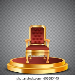 Gold round podium with throne, realistic chair, abstract background, vector, isolated