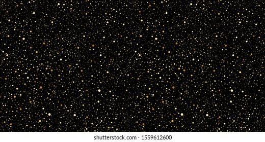 Gold round splash dots or glittering spangles seamless background. Hand drawn spray texture. Golden blobs, sparks, sparkles or glitter on black background endless template. Luxury splatter pattern.