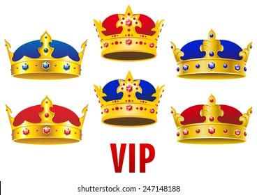 Gold royal crowns inlaid colorful jewels with red and blue velvet in cartoon style for historical concept and heraldry design