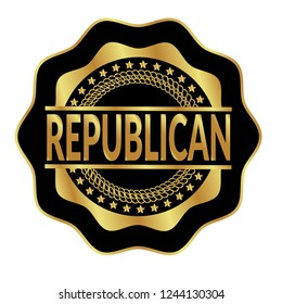 Gold rubber stamp with the text republican.golden republican rubber stamp, label, badge, logo,seal