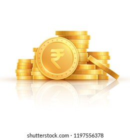 Gold rupee coins. Indian money, stacked golden coins. Rupee cash, currency isolated on white background vector icons. Money gold currency, cash wealth golden rupee illustration
